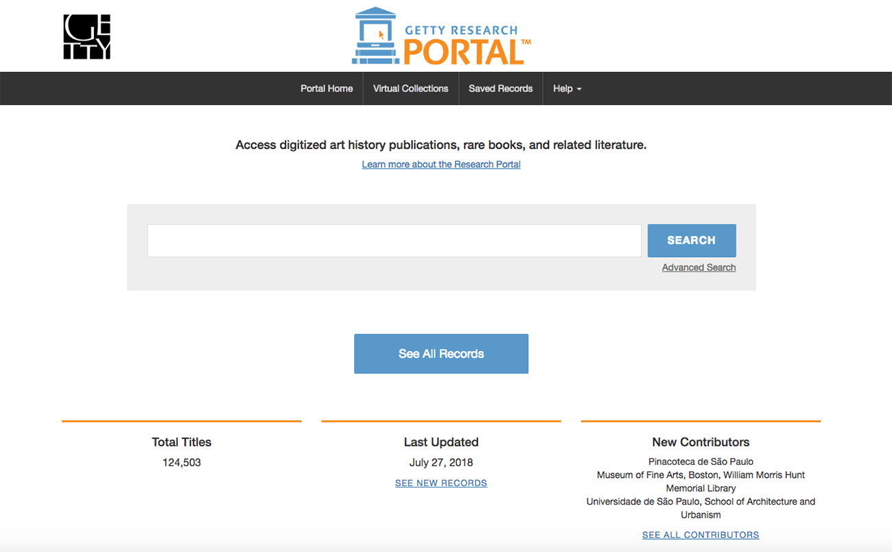"View of the Getty Research Portal homepage which features a search box and ""See All Records"" button."