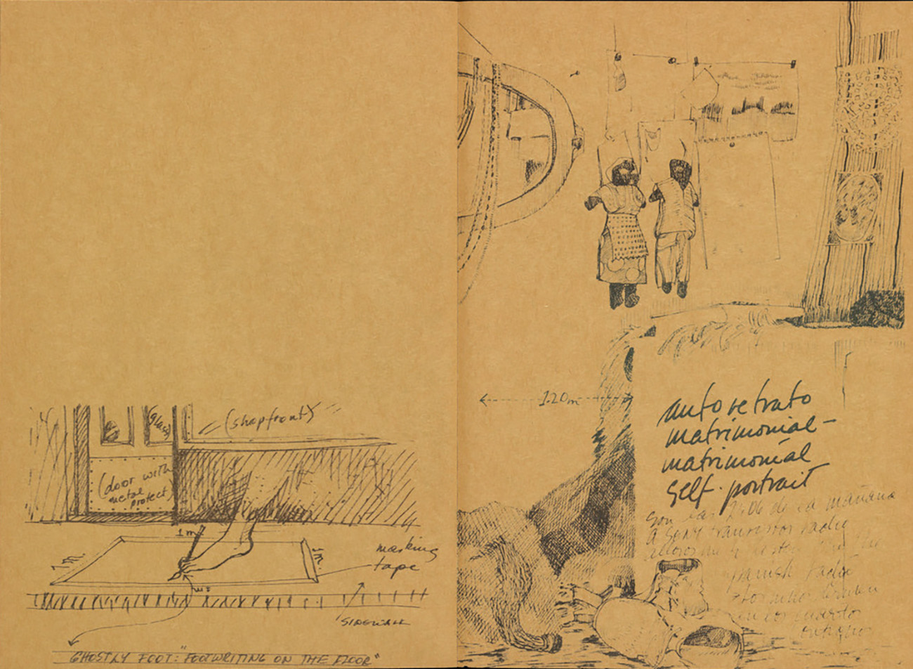 Open sketchbook with aged pages. On the left is a drawing with notes of a foot on a sidewalk. On the right is a sketch of an interior scene with dolls hanging on a wall and one lying down and several translations for the word self portrait.