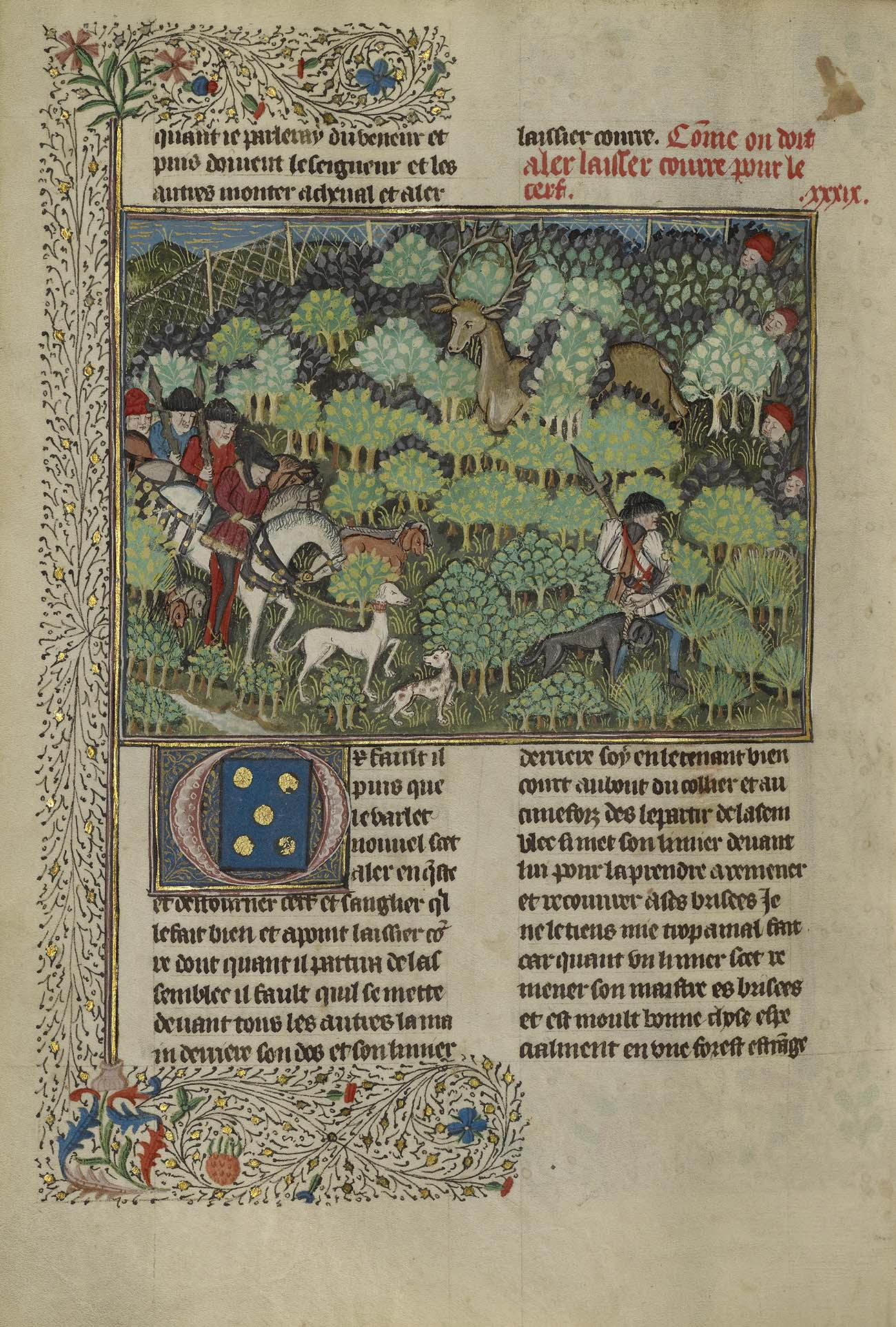 Page from a manuscript featuring animals and hunters in a lush green forest.