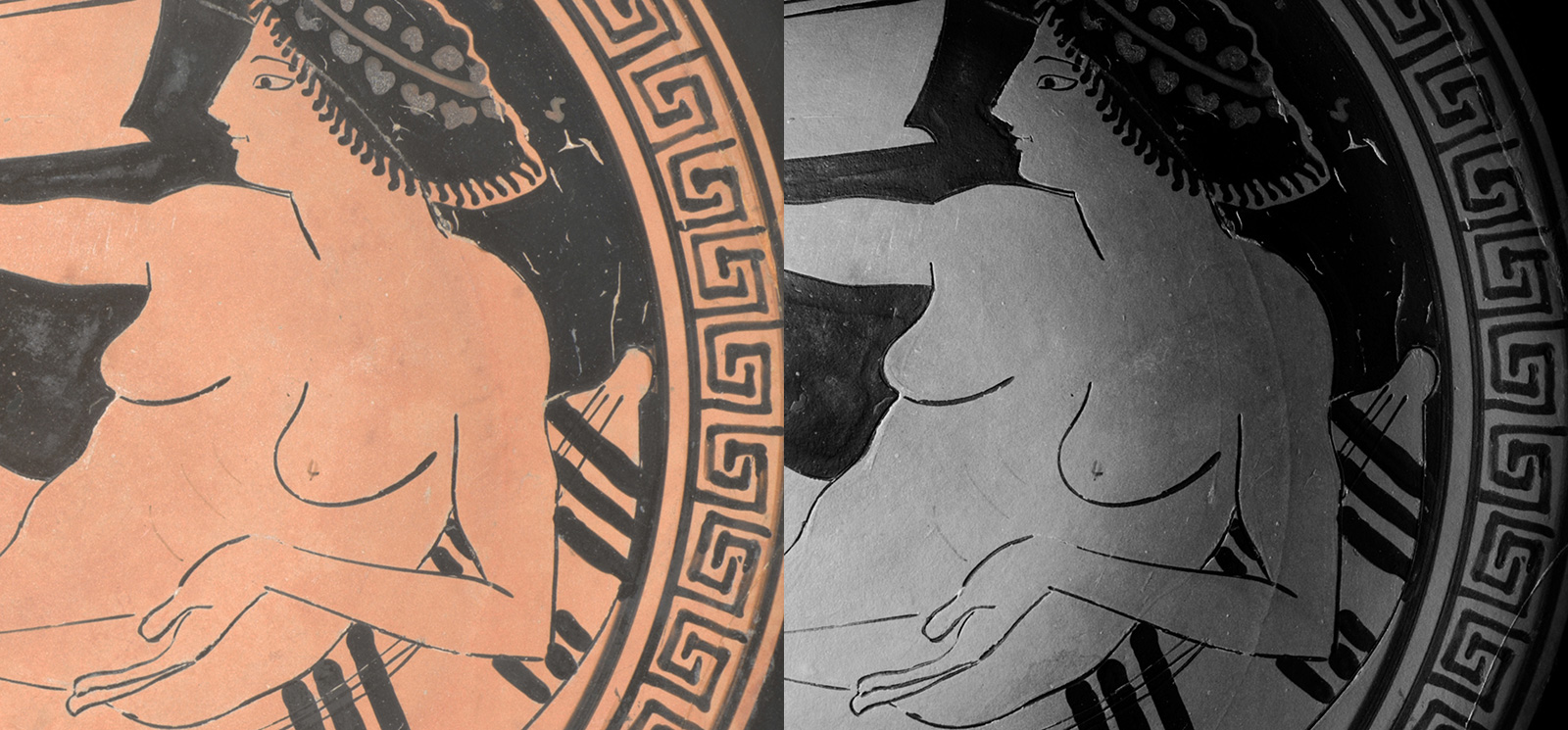 Detail of the painting on an ancient Greek cup showing the torso of a nude woman