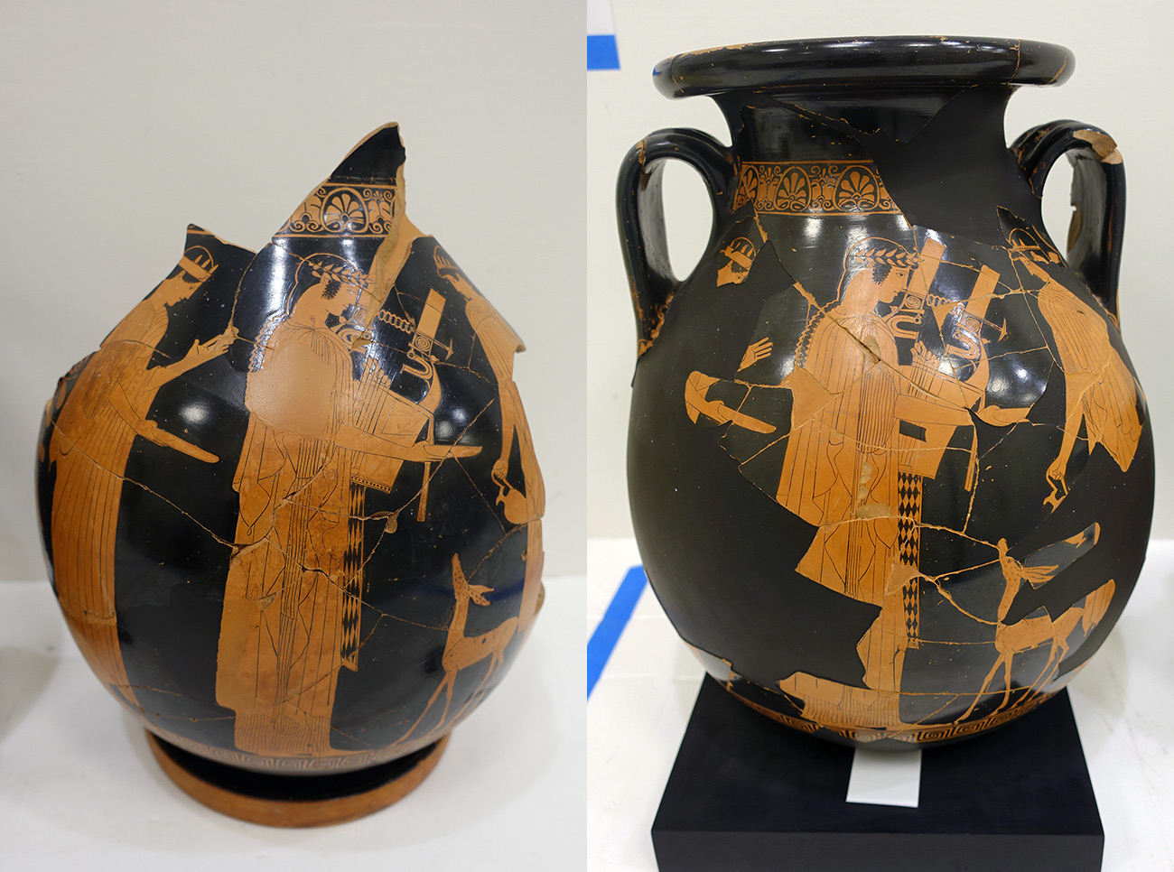 Snapshots of two similarly painted, partially broken Greek vessels showing Apollo playing a lyre