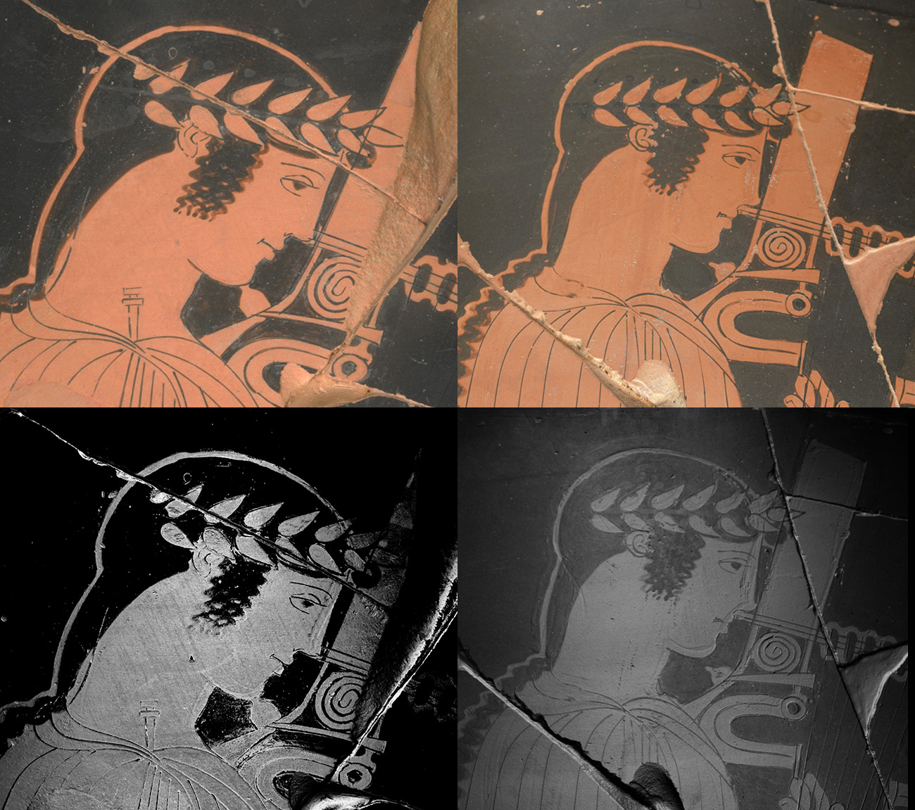 Grid of four images showing two vase paintings of Apollo, one under natural light and one under black and white technical imaging