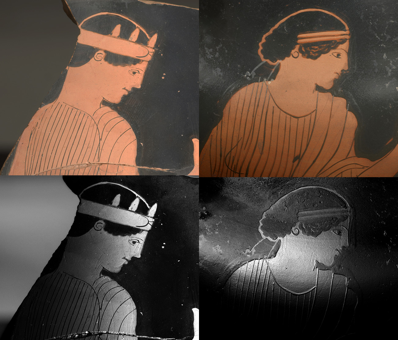 Grid of four images showing vase paintings of female figures, one under natural light and one under black and white technical imaging