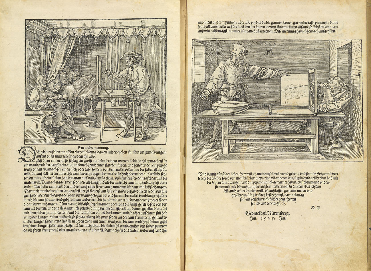 Pages from Albrecht Dürer. Woodcut examples.