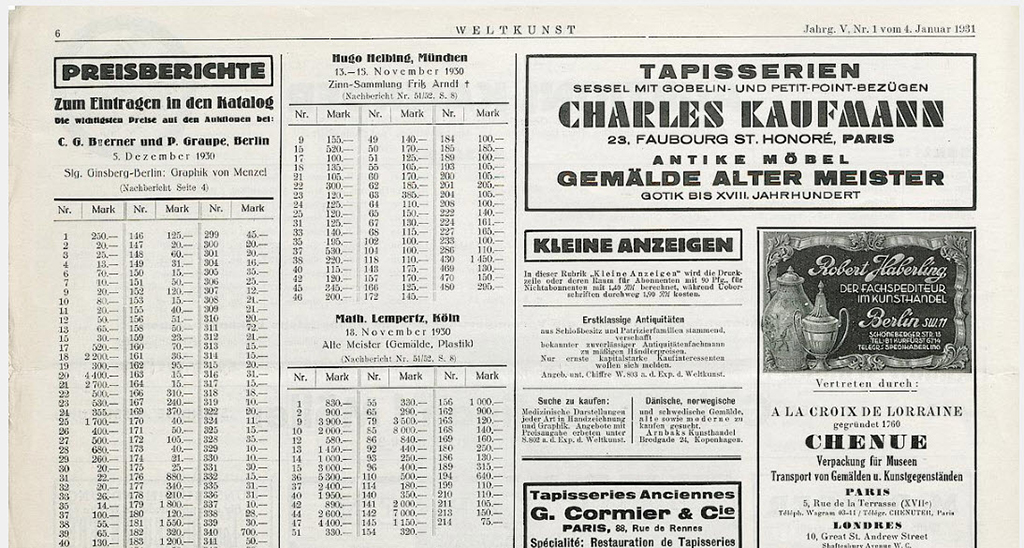 The top half of a page of from Weltkunst, a German art newspaper, for January 1931, that shows prices of published sales from three auctions.