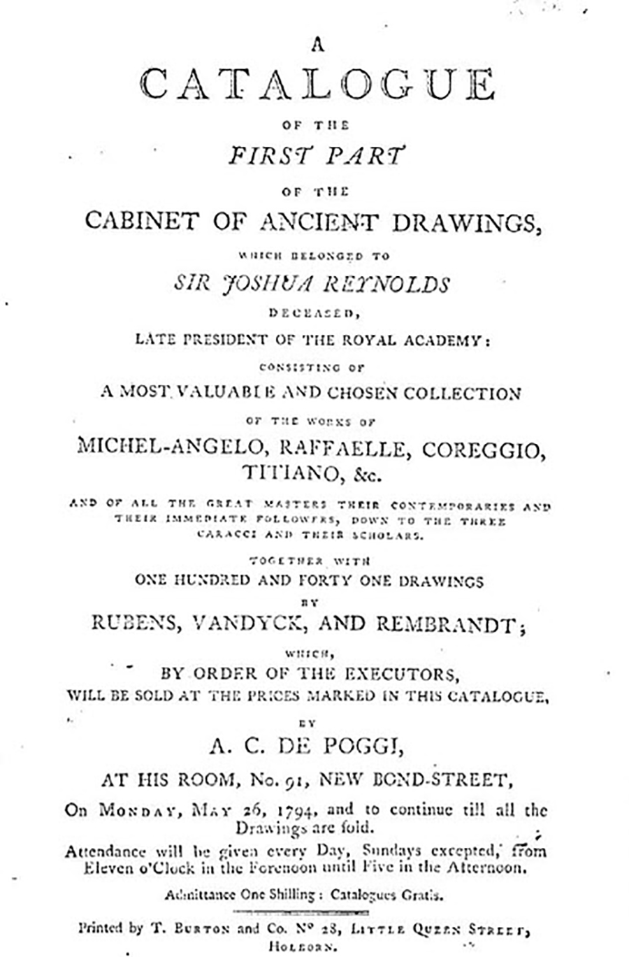 "Title page for catalog for an exhibition of drawings collected by the late Sir Joshua Reynolds, including mention of ""Michel-angelo, Raffaelle, Coreggio, Titiano,"" with information about where and when the auction will take place."