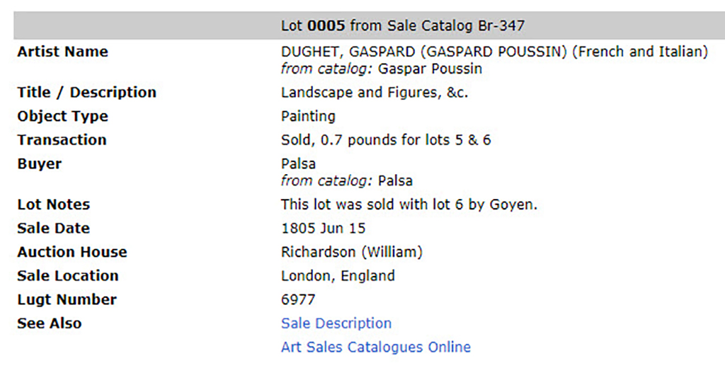 At top: Lot 0005 from Sale Catalog Br-347. Artist Name: Dughet, Gaspard (Gaspard Poussin) (French and Italian), from catalog: Gaspar Poussin; Title / Description: Landscape and Figures, &c.; Object Type: Painting; Transaction: Sold, 0.7 pounds for lots 5 & 6; Buyer: Palsa, from catalog: Palsa; Lot Notes: This lot was sold with lot 6 by Goyen.; Sale Date: 1805 Jun 15; Auction House: Richardson (William); Sale Location: London, England; Lugt Number: 6977; See Also: Sale Description [hyperlinked]; Art Sales Catalogues Online [hyperlinked]