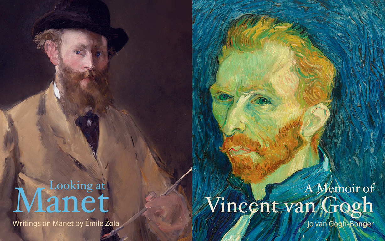 A self-portrait of Manet on the left and of van Gogh on the right used for book covers