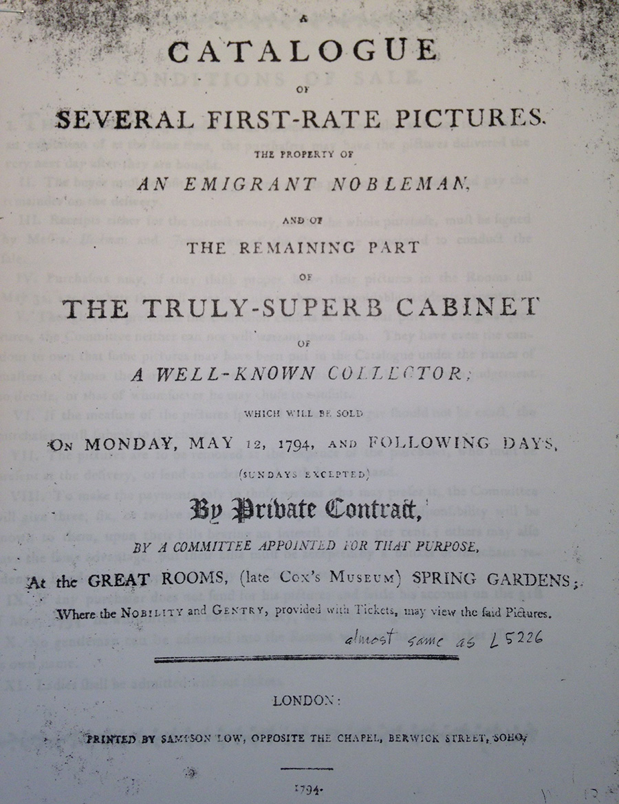 A catalogue of several first-rate pictures. The property of an emigrant nobleman, and of the remaining part of the truly-superb cabinet of a well-known collector; which will be sold on Monday, May 26, 1794, and following days, (Sundays excepted) by private contract, by a committee appointed for that purpose, at the Great Rooms, (late Cox's Museum) Spring Gardens; where the nobility and gentry, provided with tickets, may view the said pictures.