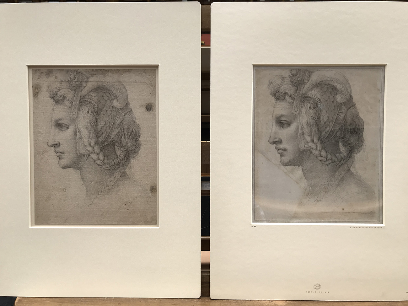 An original and an almost identical copy of a drawing of a profile of a woman with braids and a headdress.