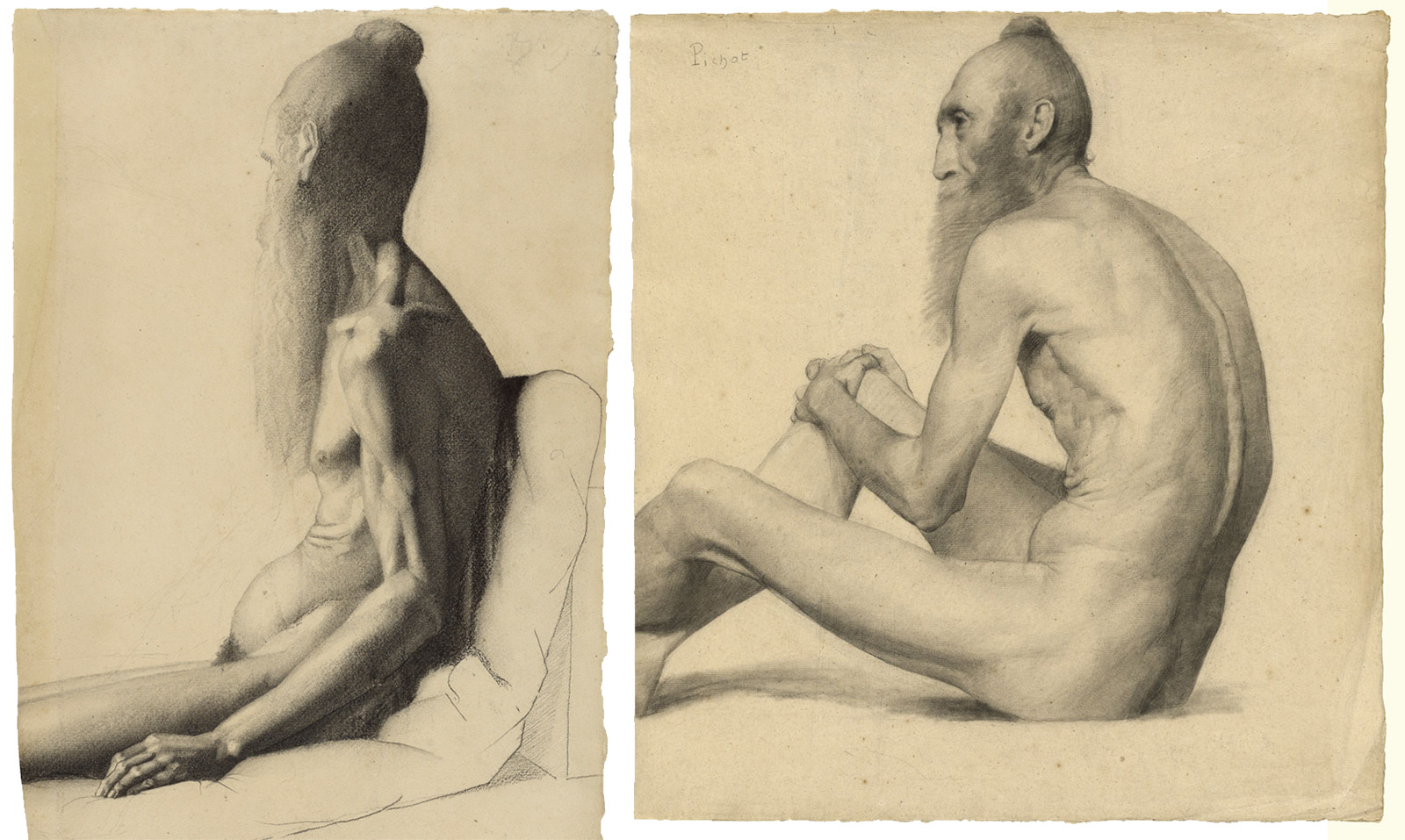 Side-by-side view of two pencil drawings of an aged, nude man with a long beard, sitting, seen from the side and rear