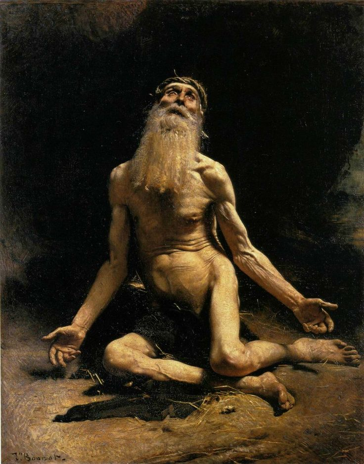 A darkly hued painting shows an aged, bearded man on the ground, arms spread and legs bent, looking up to his left to the source of light