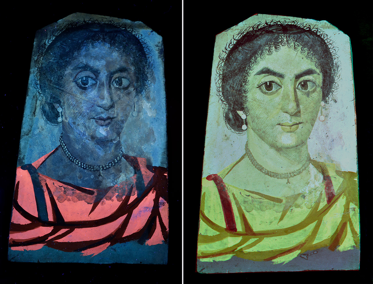 Side-by-side of a portrait of a woman under two different lights revealing what pigments were used to create the final color.