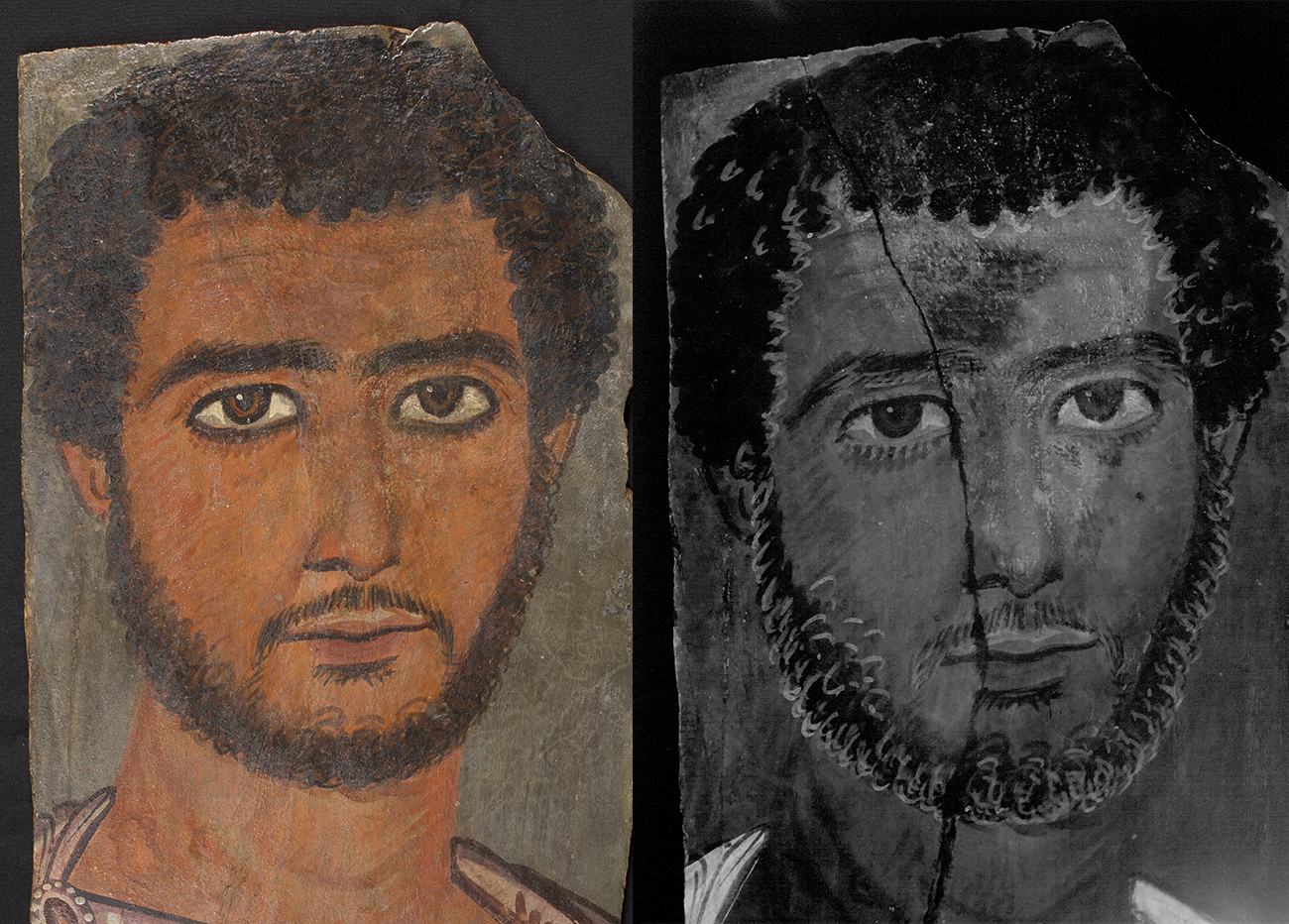 Side-by-side comparison of a funerary portrait of a man shot in two lights revealing invisible brushstrokes in his beard and hair.