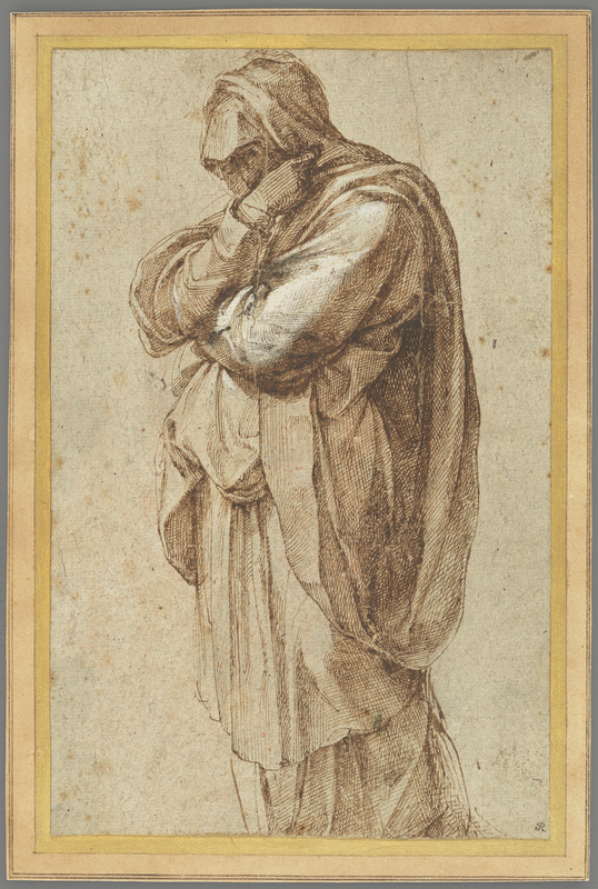 drawing in brown ink of a female figure facing left and wrapped in cloth. On faded, brownish paper.