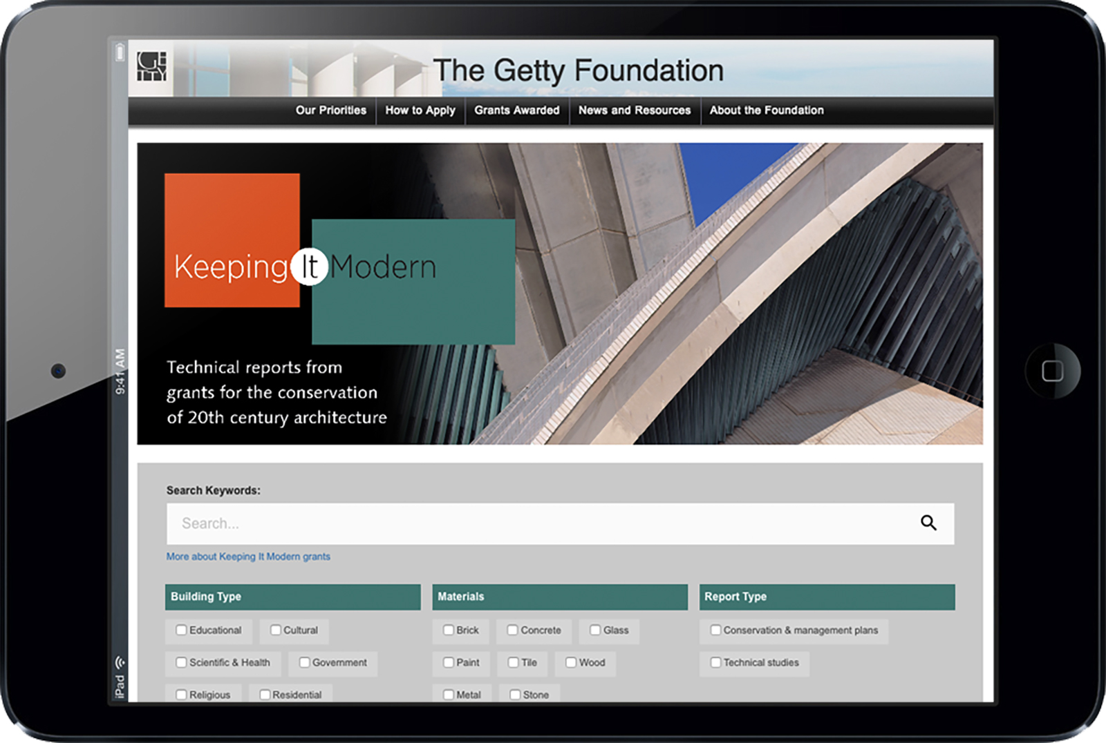 An iPad view of the Keeping It Modern library.