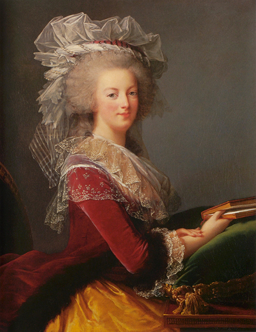 A painted portrait of a young woman posed in velvet, satin and lace, holding a book and smiling.