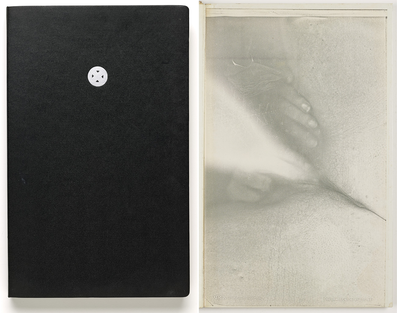 "Left: the black cover of a book with a small silver circle enclosing an ""x,"" and, right, an erotic xerograph with high contrast of a woman captured while sitting on a copy machine with her hands between her legs."
