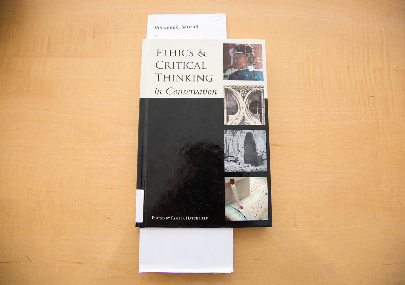 A photo of a book titled: Ethics and Critical Thinking in Conservation.