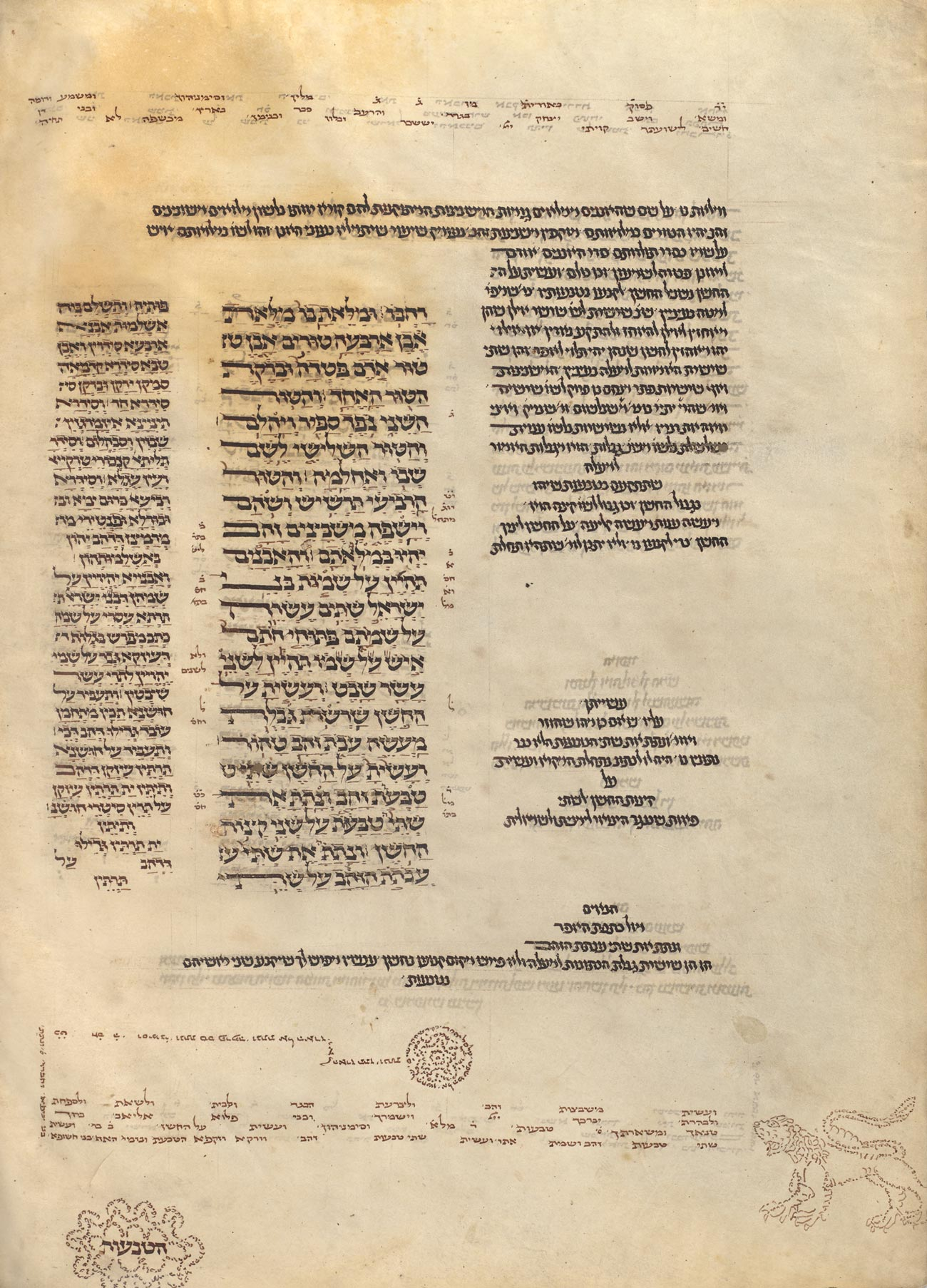 A page of sparse Hebrew text includes shapes and a lion formed from letters.