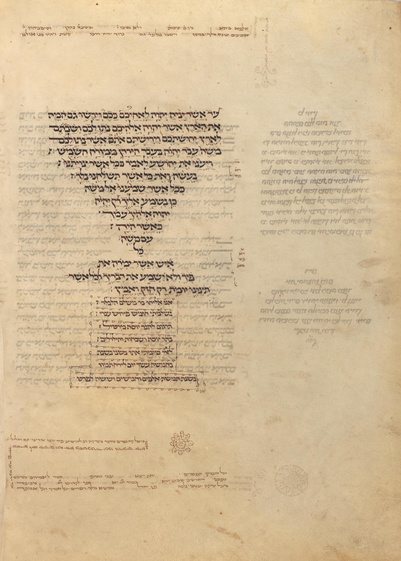 Hebrew text with the top portion in the shape of an inverse pyramid with small notes and simple decorations.