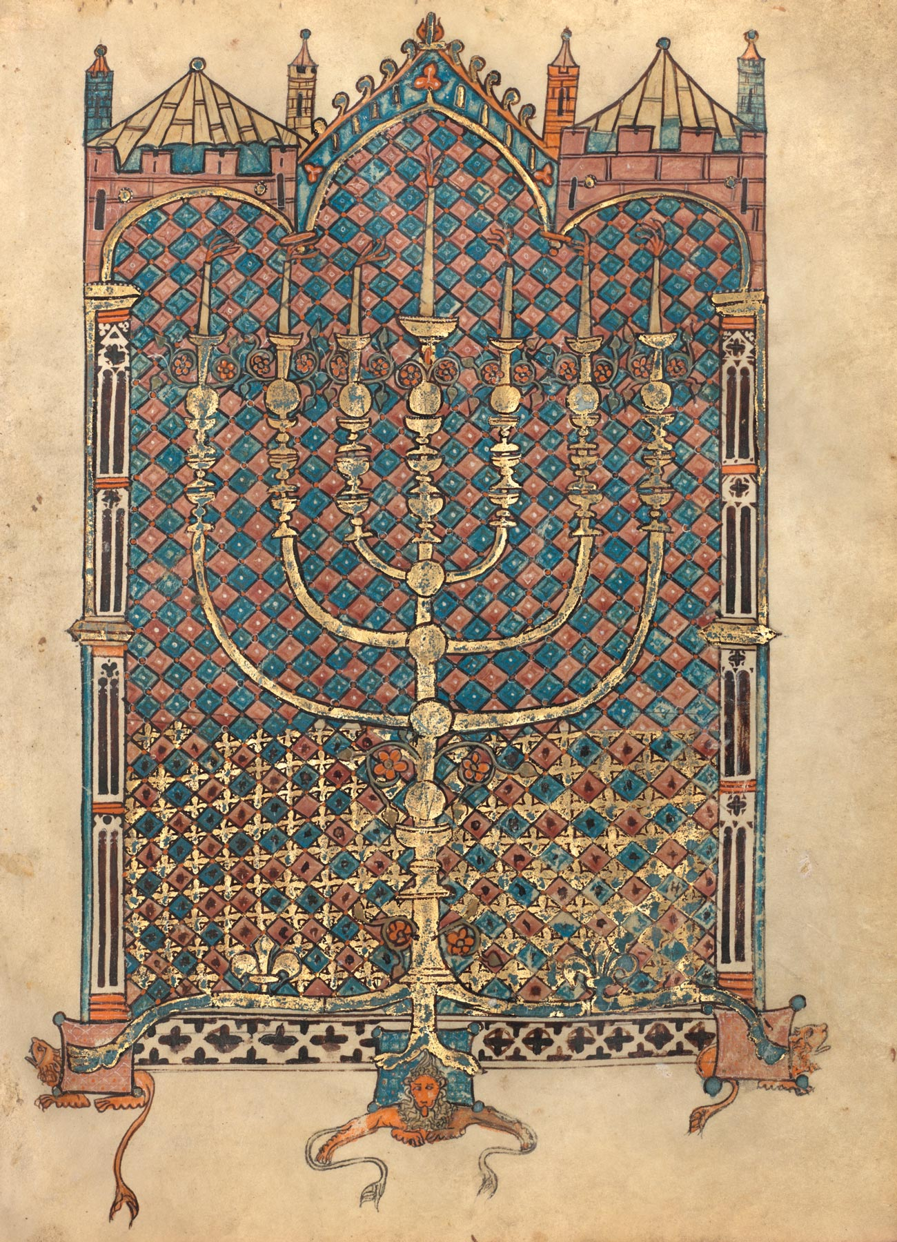 An illuminated manuscript with a large seven armed menorah. A richly patterned architectural background features columns and peaked roofs.