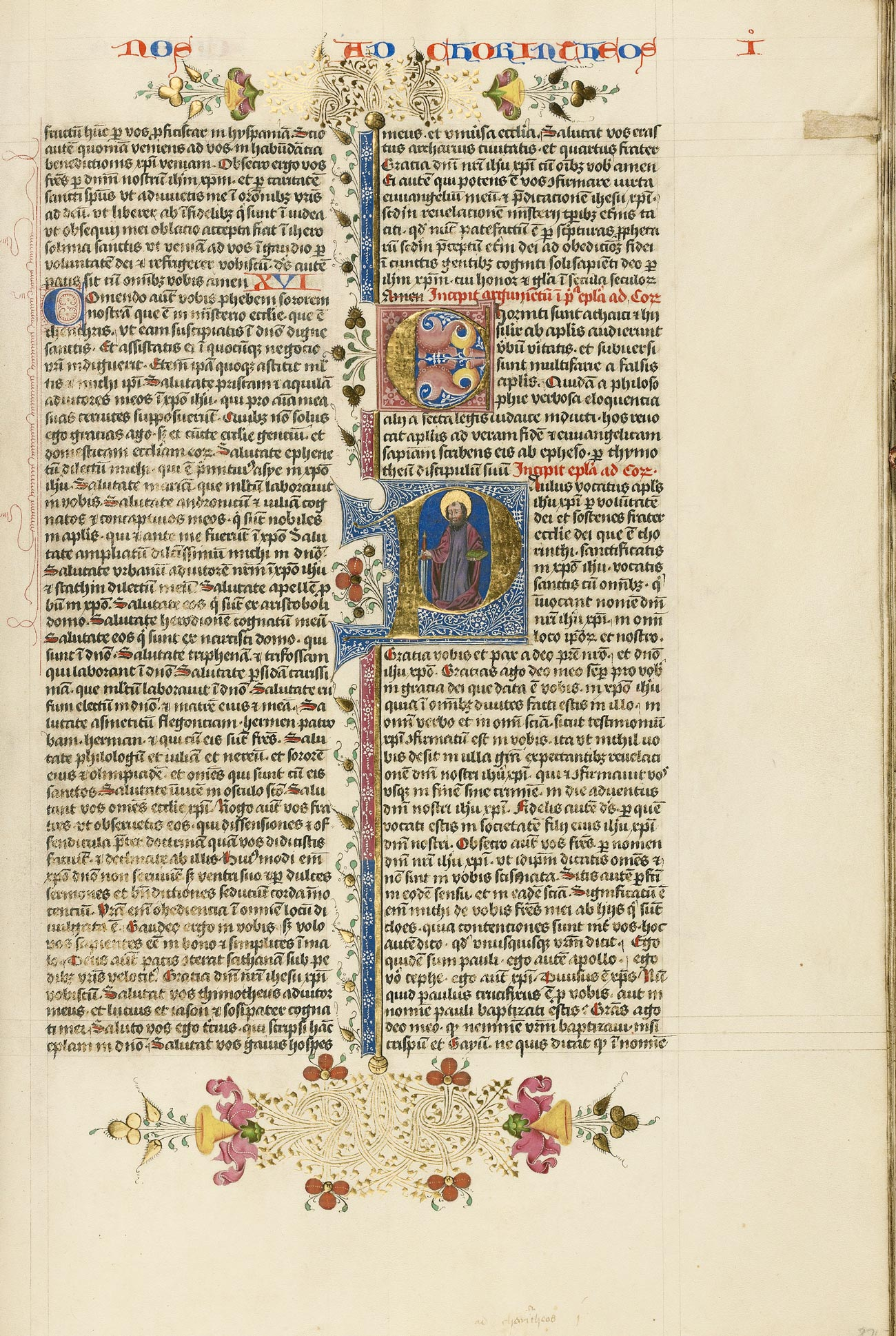 An illuminated manuscript with text in Latin and a large initial P in gold with an illustration of a man holding a sword and a book.
