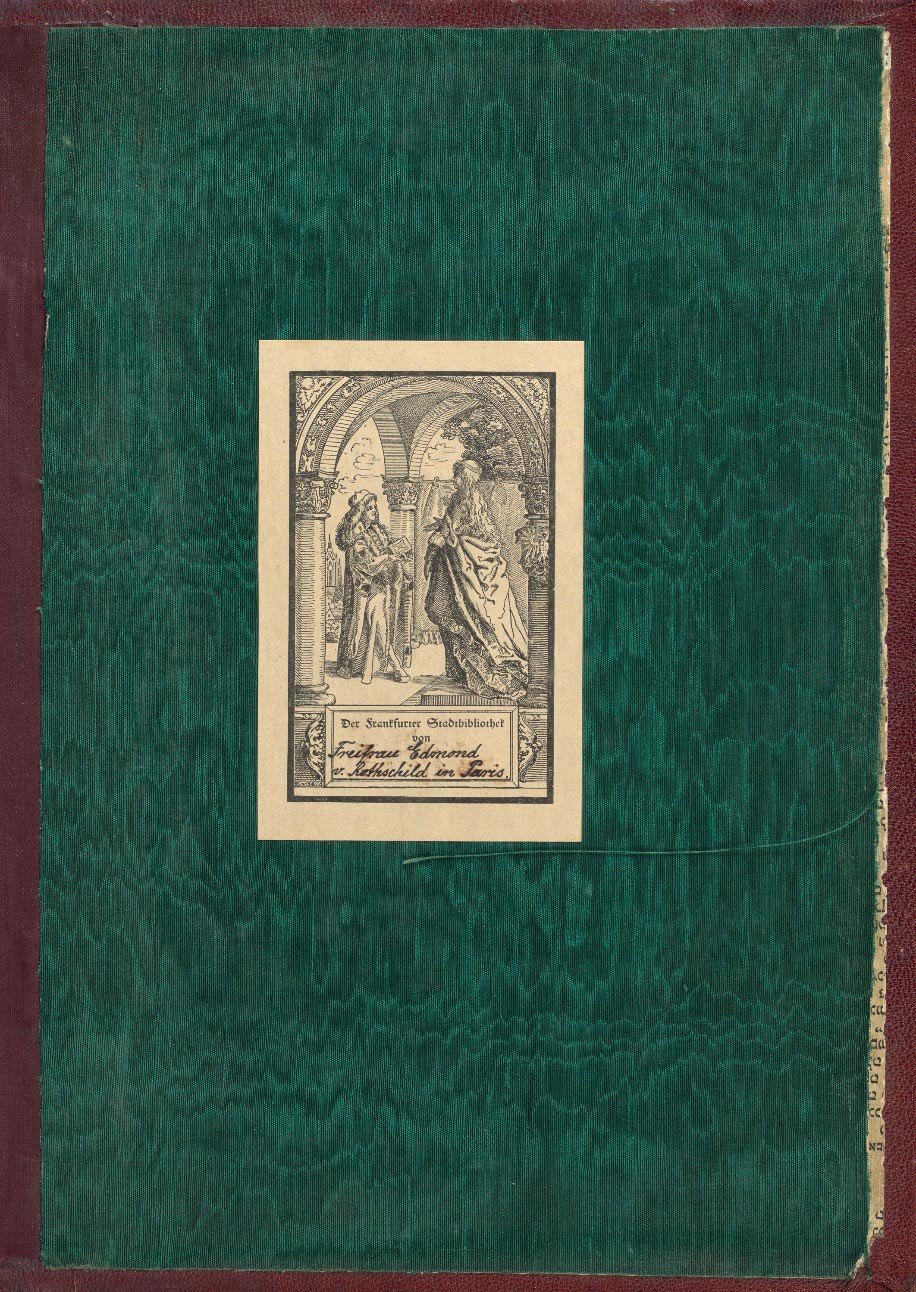 "A green fabric page with a label in German showing the image of two long haired scholars talking. Below is hand=written ""Freifrau Edmond v. Rothschild Paris"""