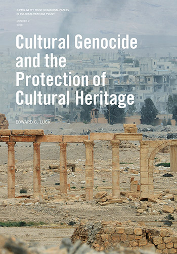Cover of free PDF download showing a bombed landscape of ancient ruins in Palmyra, Syria