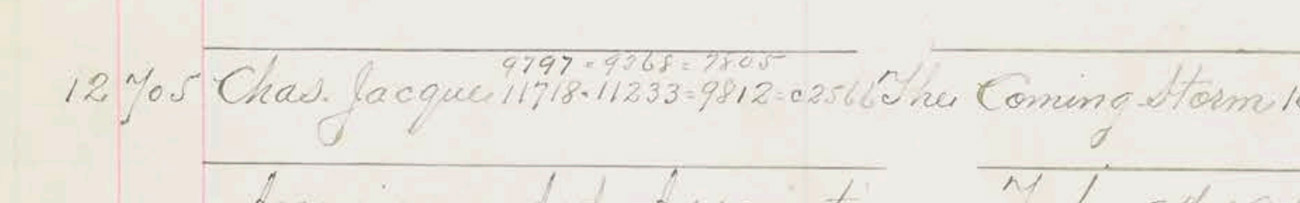 A line from a hand-written ledger reading