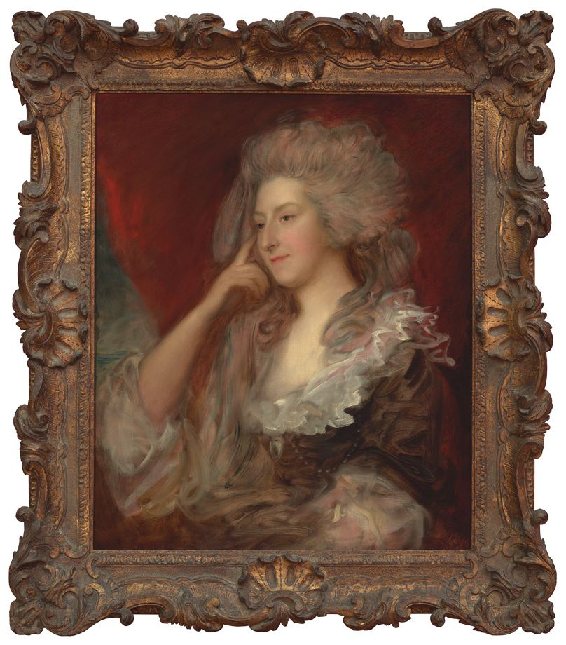 A painted portrait of a woman in fine 18th century attire.