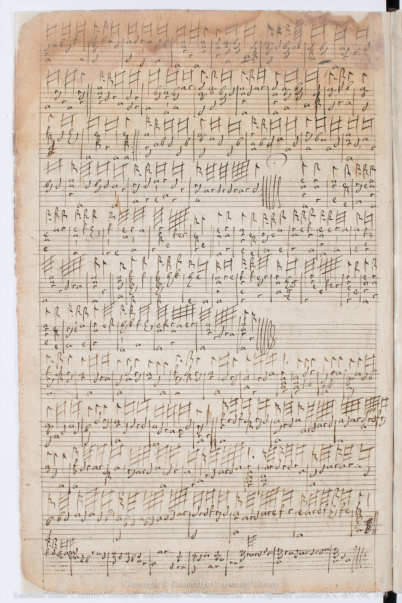 Renaissance era music sheet