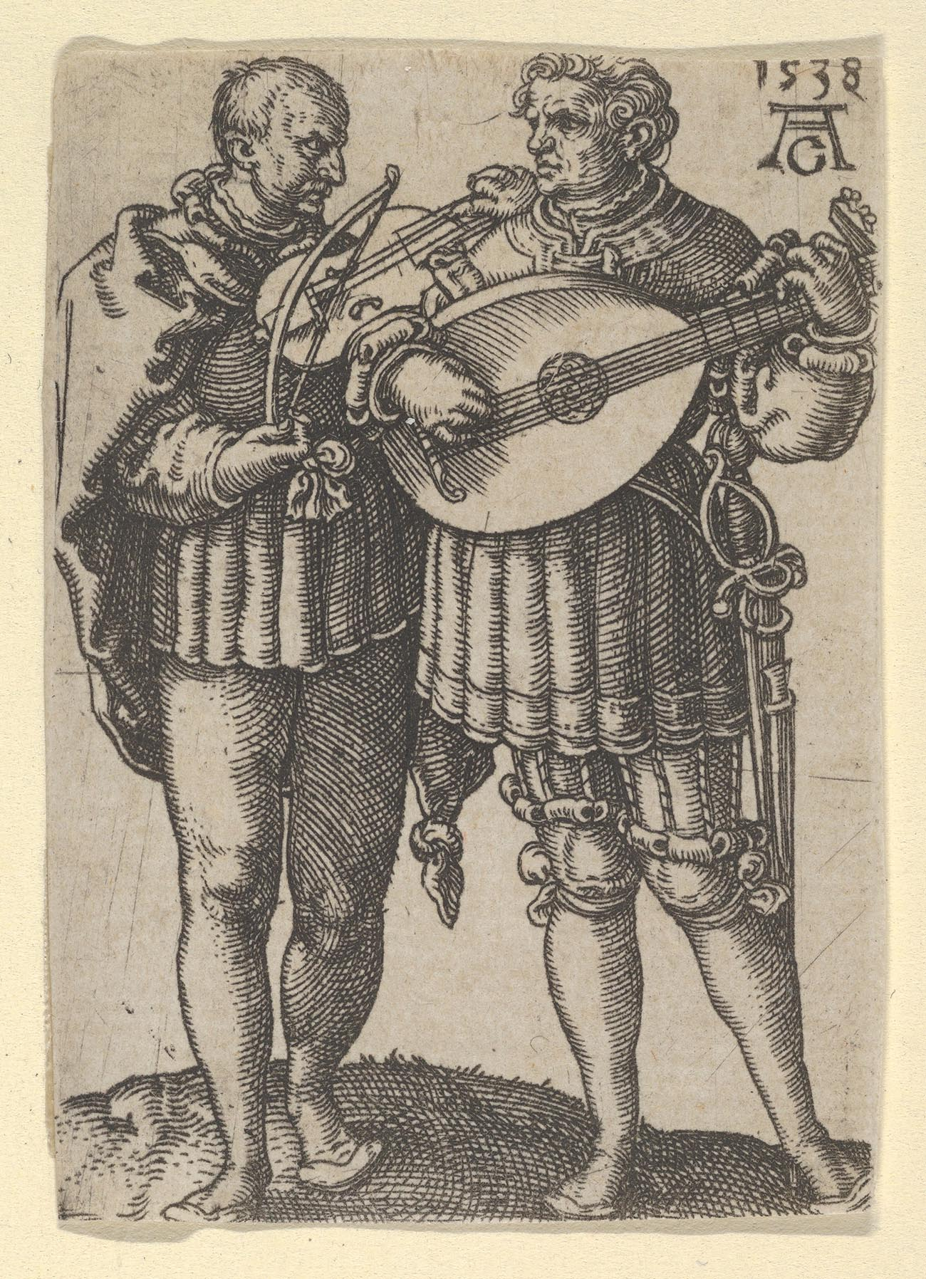 Sepia-toned print of two men playing music.