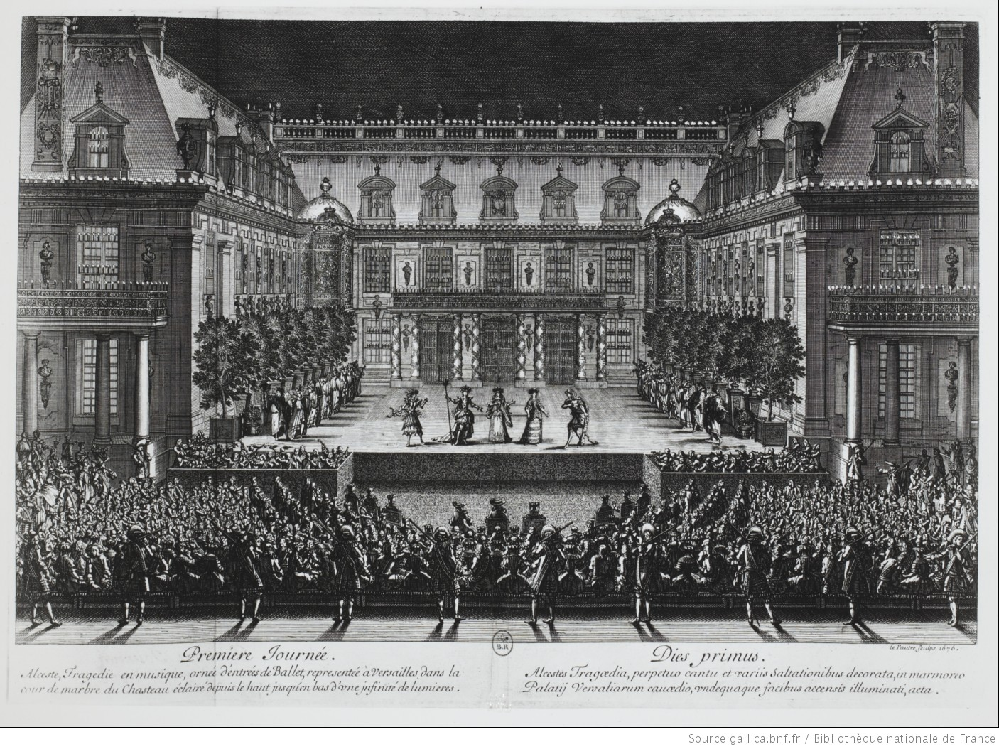Concert at a castle featured in a black and white print.