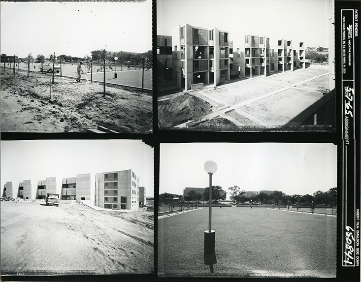 black and white contact sheet of four photographs of the Salk Institute and its grounds under construction