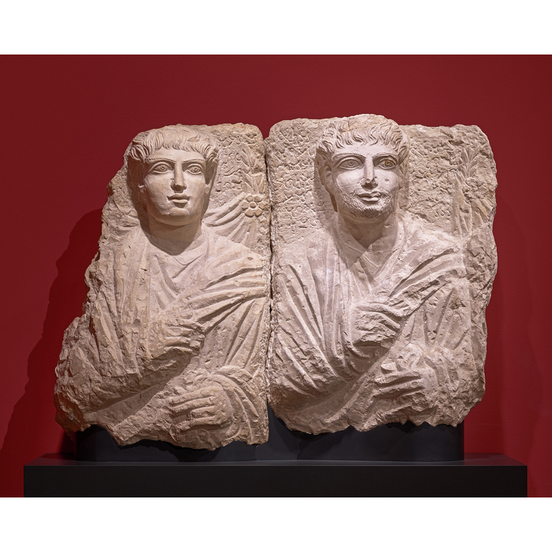 Male and His Son (?), 170 - 190 C.E., Palmyran. Hard greyish limestone, 22 1/4 × 15 3/4 × 4 5/16 in. Ny Carlsberg Glyptotek, Copenhagen