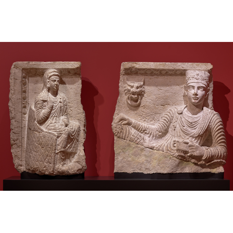 Malku and His Wife Banqueting, 146 - 147 C.E., Palmyran. Hard greyish limestone, 29 1/2 × 31 7/8 × 5 5/16 in. Ny Carlsberg Glyptotek, Copenhagen