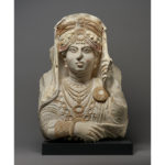 The Beauty of Palmyra, 190 - 210 C.E., Palmyran. Hard white limestone with traces of color, 21 5/8 × 15 15/16 × 5 11/16 in. Ny Carlsberg Glyptotek, Copenhagen