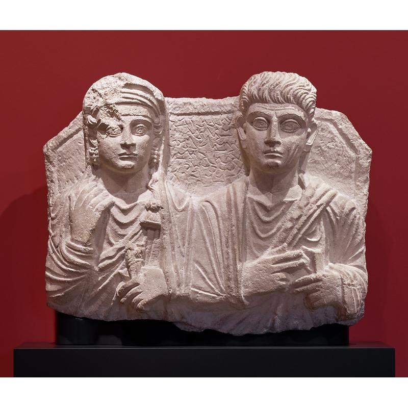 Shalmat and Atenatan, 135 - 150 C.E., Palmyran. Hard white limestone, 19 11/16 × 24 13/16 × 4 1/8 in. Ny Carlsberg Glyptotek, Copenhagen