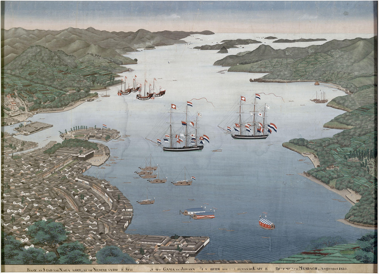 An antique print with some water stains showing a panoramic view of a bay with a variety of early nineteenth century vessels.