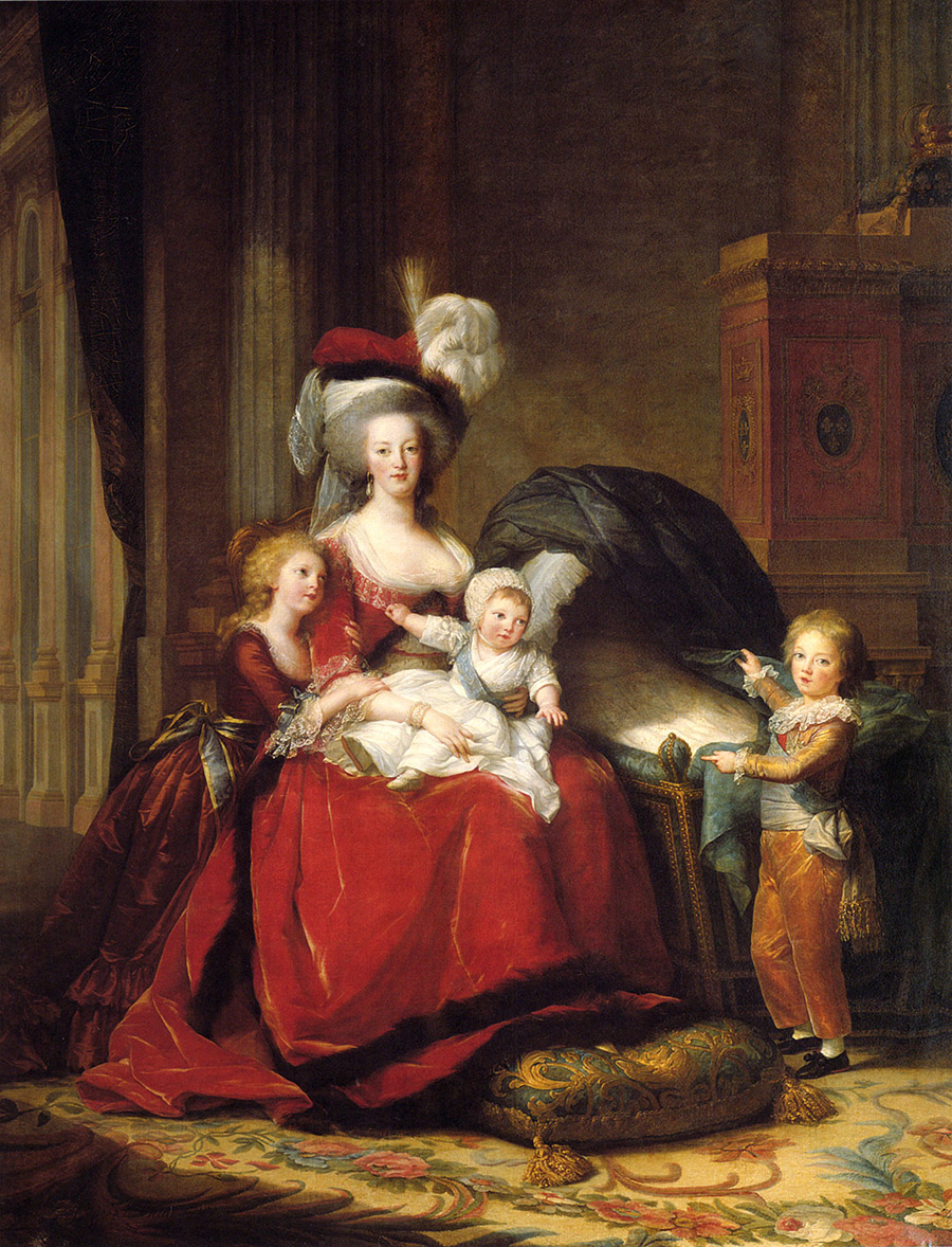 An 18th century portrait painted of a woman holding a baby with two young children standing near. All are dressed in formal clothing of velvet and silk.