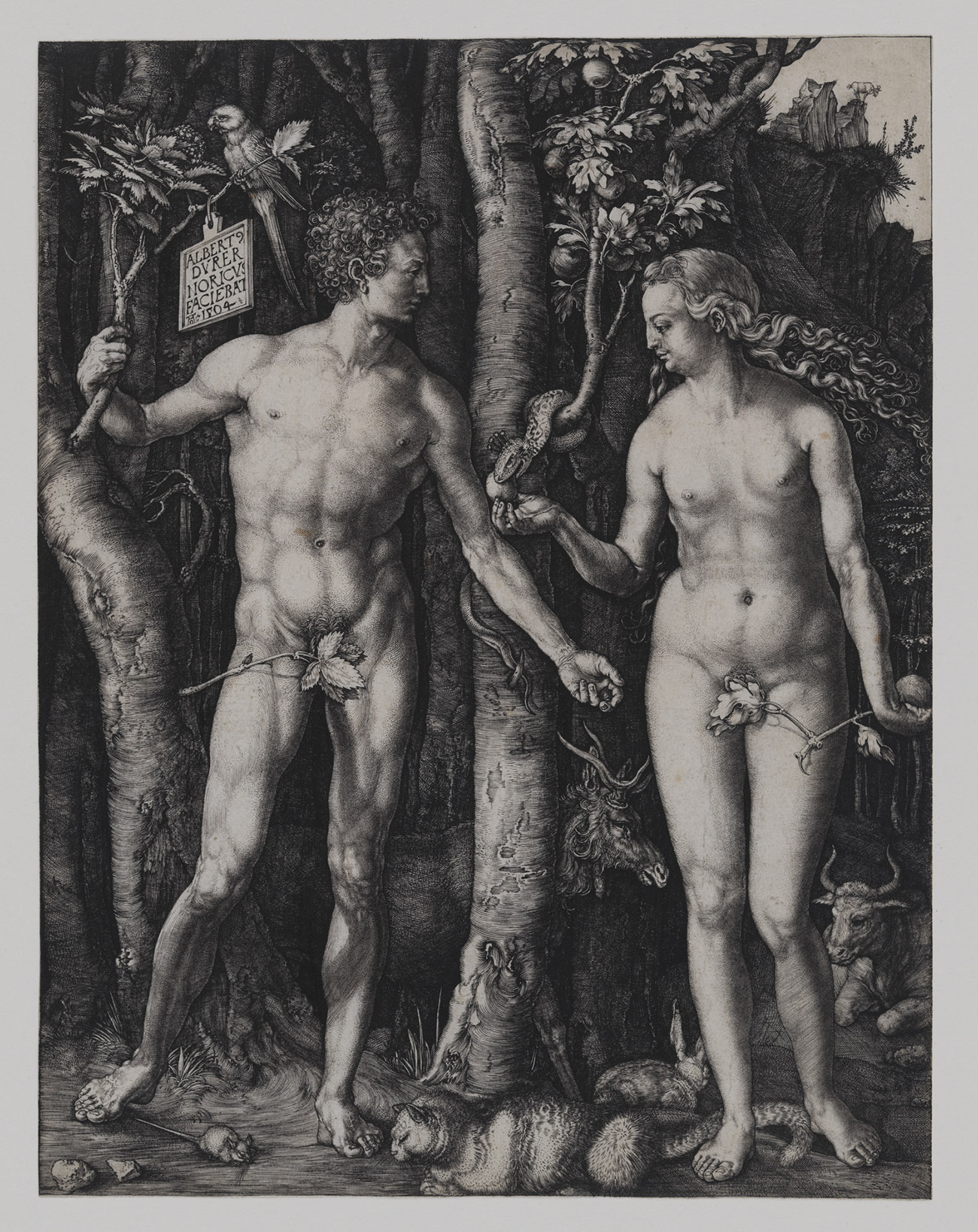 Adam and Eve in the forest. Both are nude and muscular.