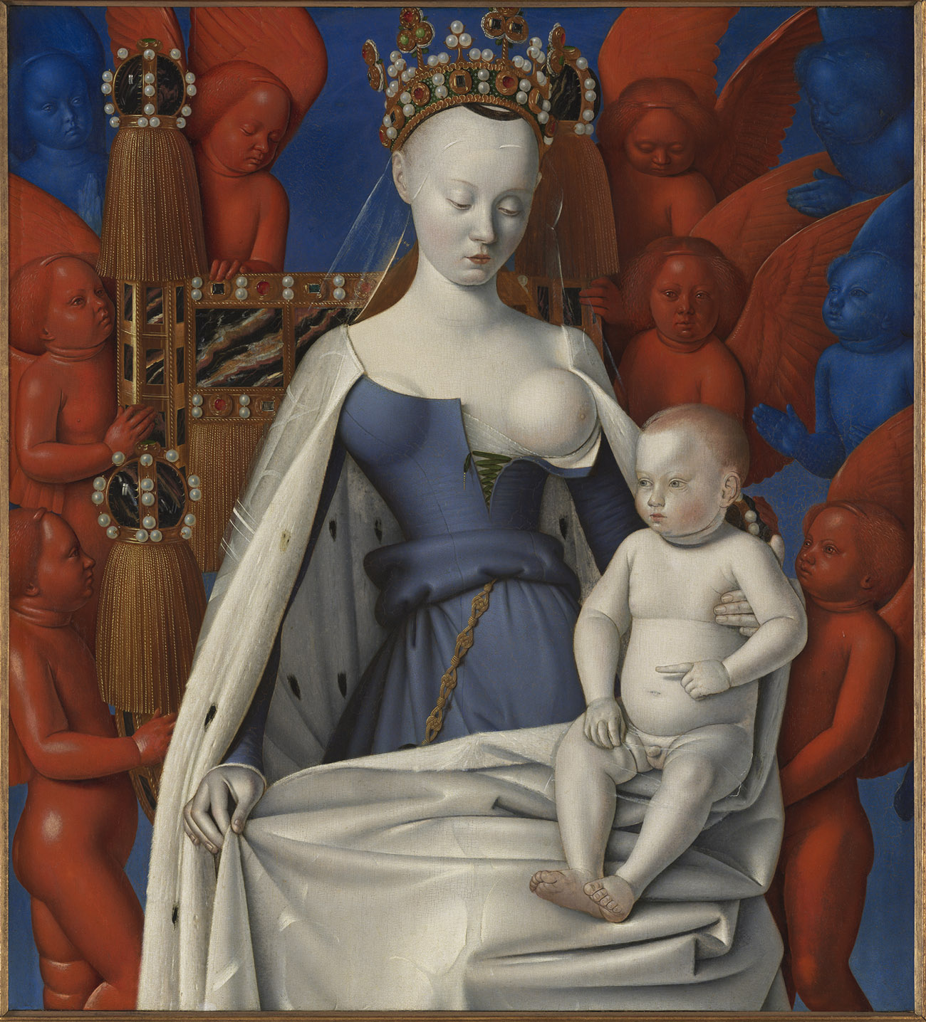 A pale-skinned Virgin Mary with one breast exposed, holding an infant Jesus.