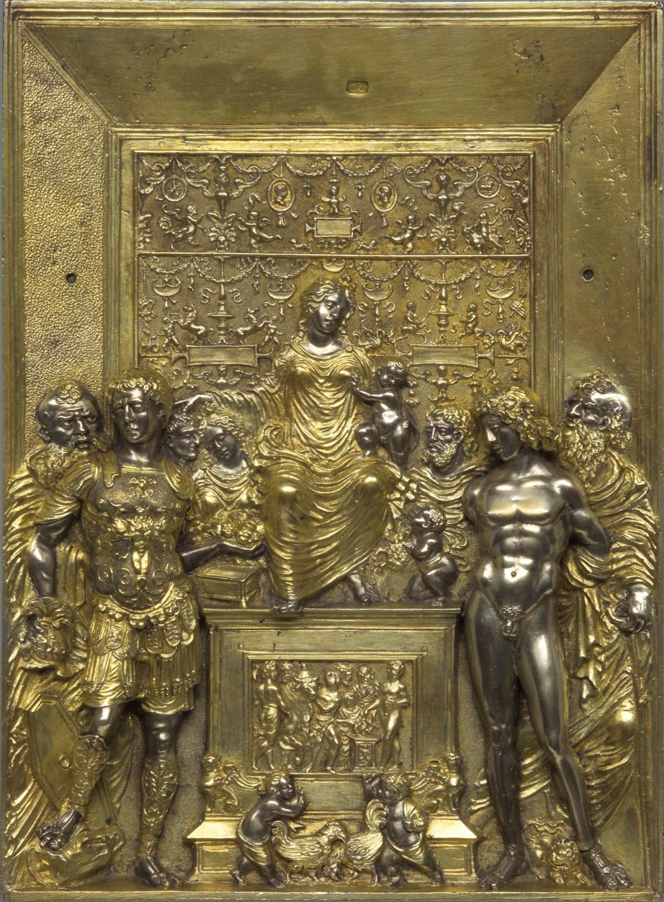 A golden colored relief sculpture featuring the Virgin and Child. In the foreground, Saint Sebastian is nude.