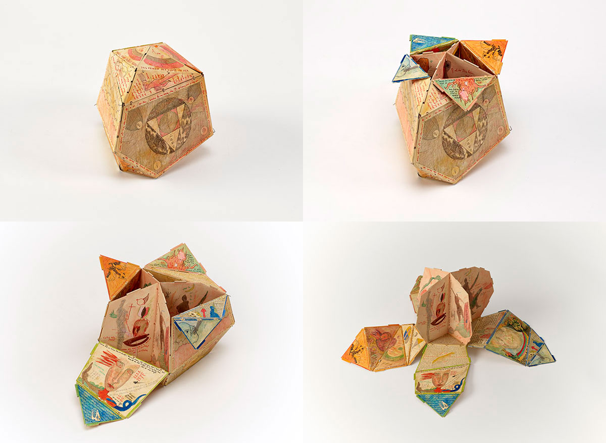 Four views of the small cardboard sculpture starting with it close in an irregular, and opening several panels at a time to show more of the interior illustrations and shapes.