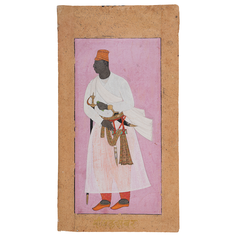 A portrait of an African nobleman, about AD 1605–10, Ahmadnagar, Deccan, India. Gouache and gold on paper, Height: 20.5 cm, Width: 10 cm. National Museum, New Delhi, 50.14/8