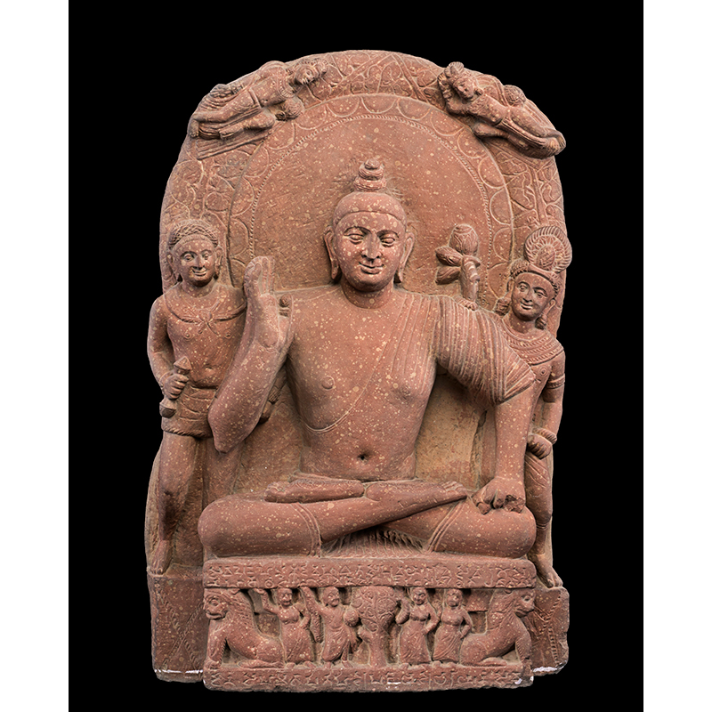 Buddhist triad from Mathura, Kushan, probably AD 159–60, Ahichhatra, Uttar Pradesh, India. Red sandstone, Height: 77 cm, Width: 47 cm, Depth: 12 cm. National Museum, New Delhi, L.55.25