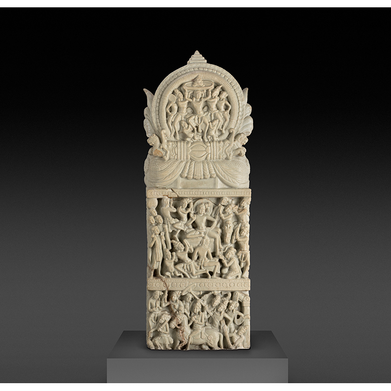 Festivities around the relic of the turban, Satvahana, about AD 150, Phanigiri, Telangana, India. Limestone, Height: 150 cm, Width: 25 cm, Depth: 20 cm. Department of Archaeology and Museums, Government of Telangana, 2003–270