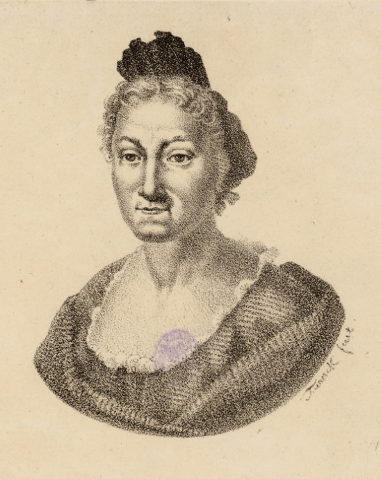 An etched bust portrait of a woman in 17th century clothing.