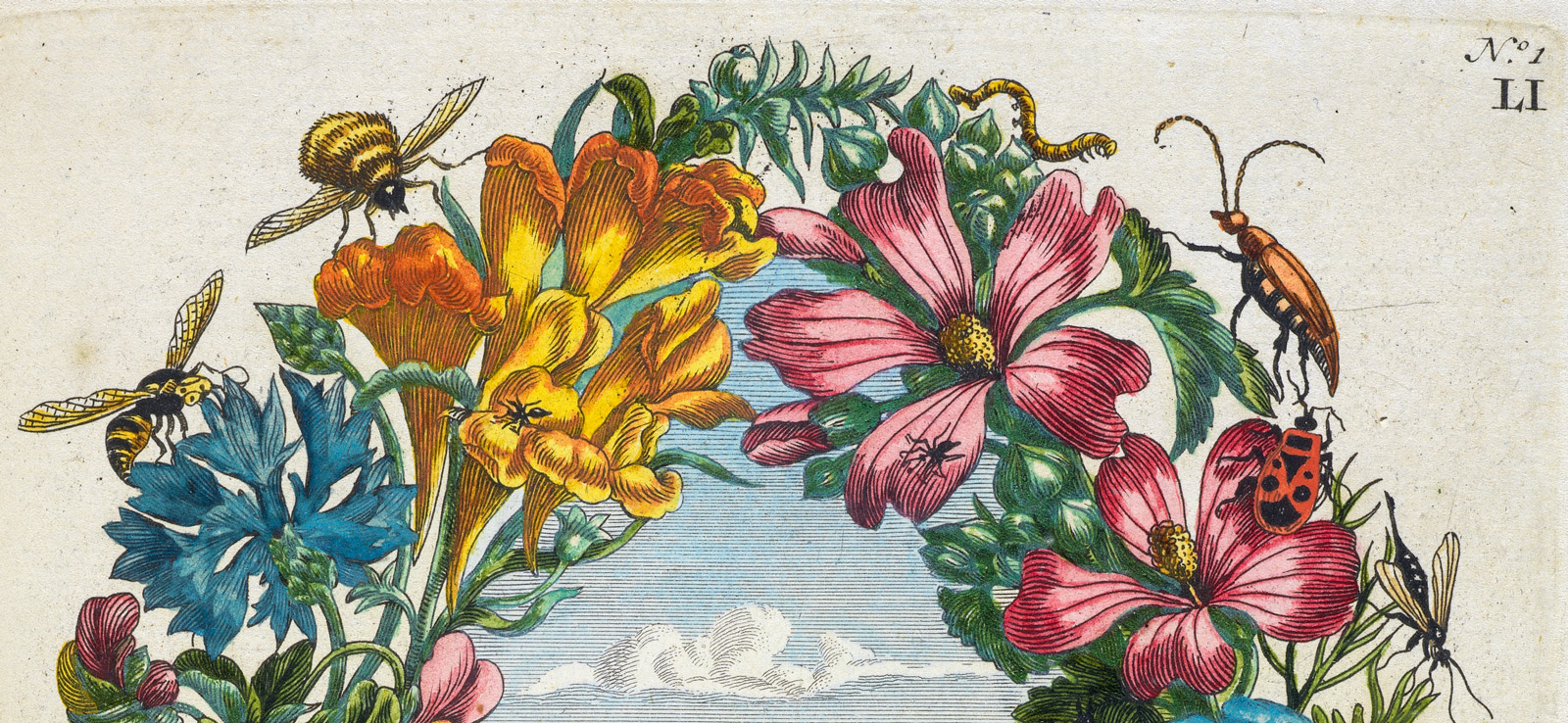 A detail of the top portion of a wreath of flowers with insects including bees and beetles.